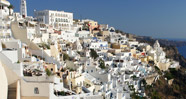Fira, view across cliff Caldera